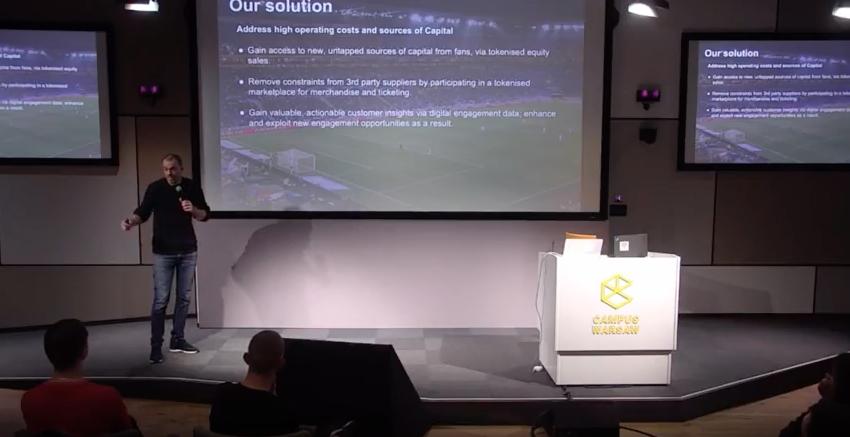 London Football Exchange ITO. Director James Aylward speaking at Warsaw Block