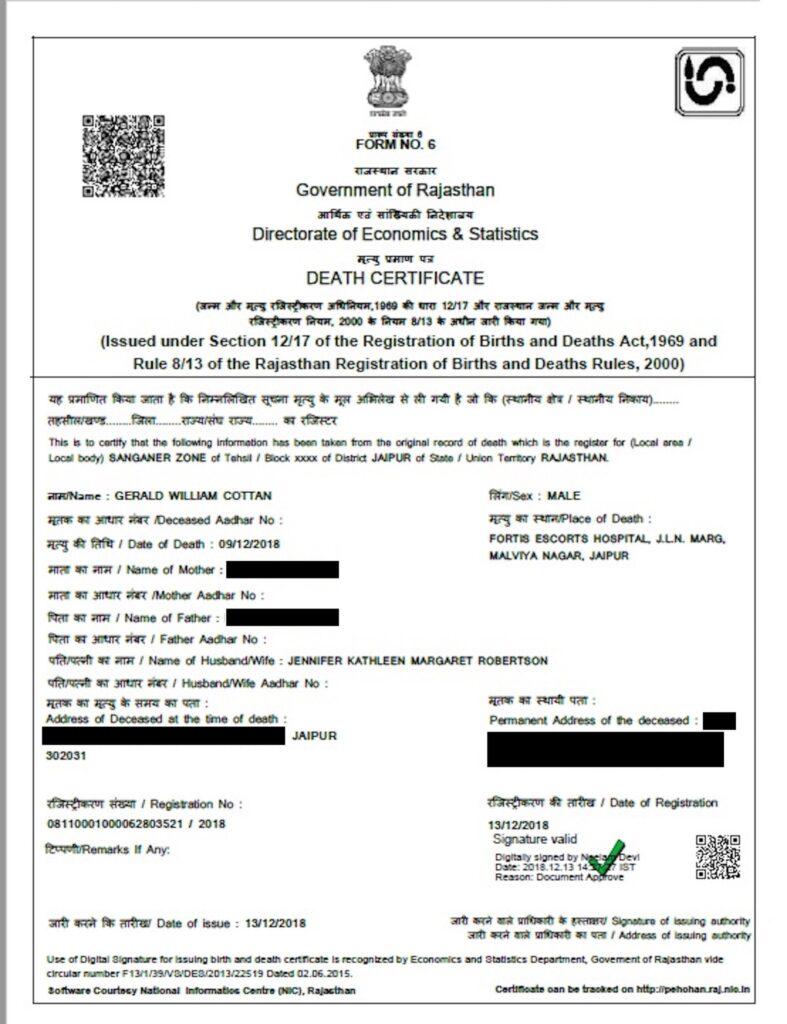 QuadrigaCX founder Gerald Cotten's death certificate