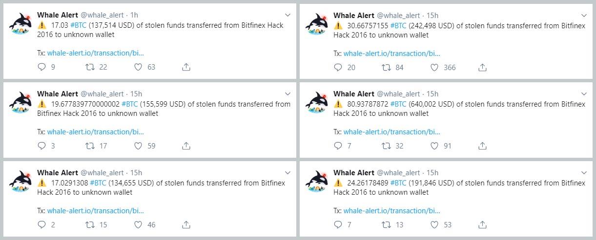 @whale_alert postings of Bitfinex stolen bitcoins