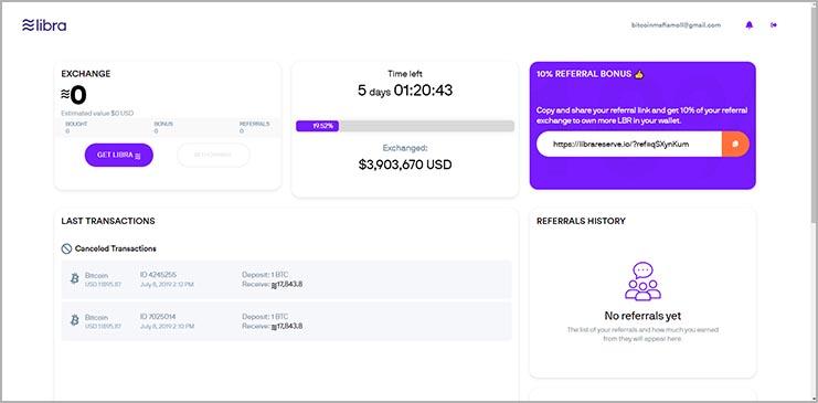 Libra scam website dashboard