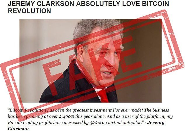 Top Gear's Jeremy Clarkson used as a fake endorsement in Bitcoin Revolution scam
