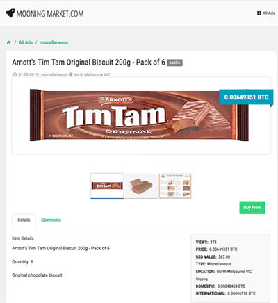 Tim Tams sold for BTC on Online Blockchain's new crypto marketplace site