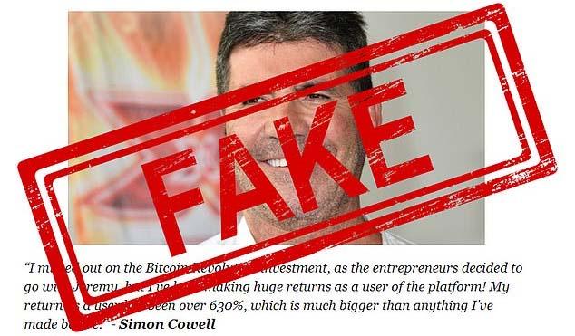 Simon Cowell fake endorsement of Bitcoin Revolution scam