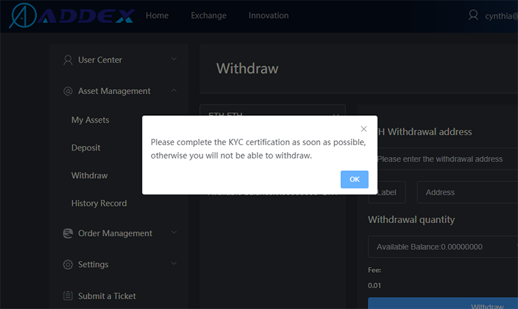 ADDEX KYC required for withdrawals only