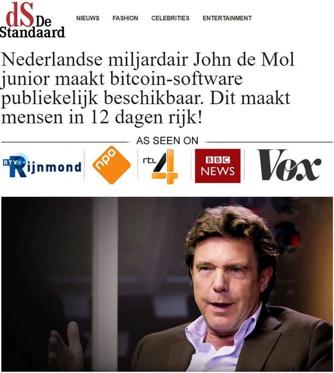 Fake ad using John de Mol's image without authorization