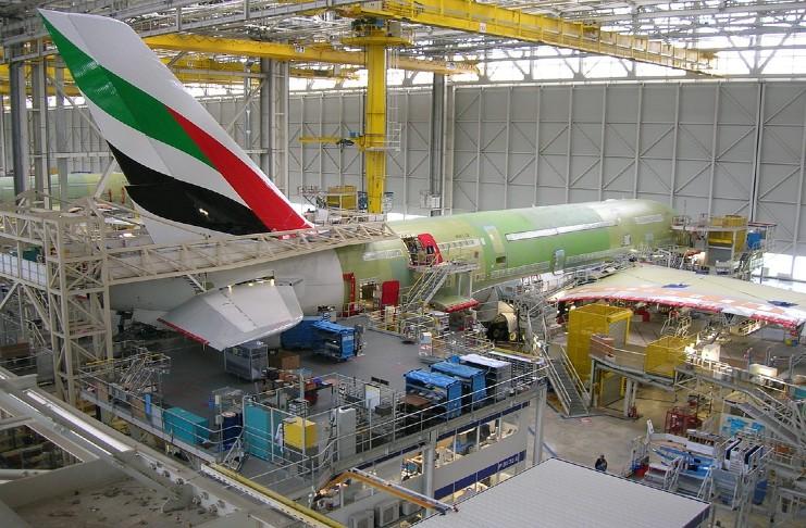 An aircraft undergoes maintenance.