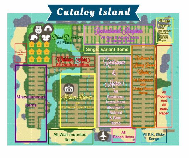 Animal Crossing catalog island map
