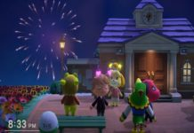 Animal Crossing: New Horizons during an actual fireworks display