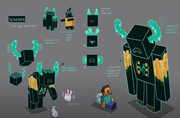 Concept art for The Warden for the up and coming update for Minecraft